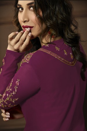 Sophie Choudry Pink&Wine Georgette Heavy Embroidery Zari Work with Jacket Semi Stitch Salwar Kameez