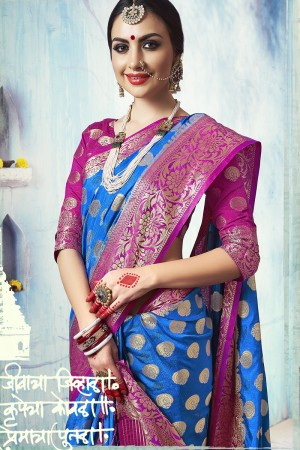 Sparkling Royal Blue Nylon Silk Jacquard Zari Woven Saree with Blouse
