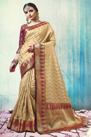 Charismatic Beige Nylon Silk Jacquard Zari Woven Saree with Blouse