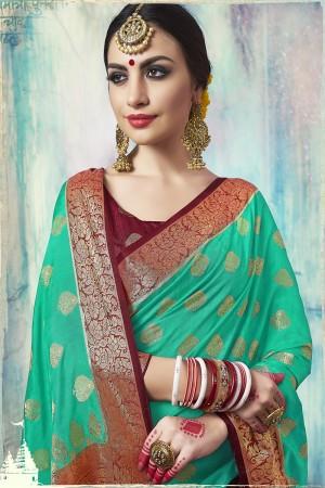 Fab Green Nylon Silk Jacquard Zari Woven Saree with Blouse