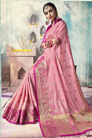 Graceful Light Pink Nylon Silk Jacquard Zari Woven Saree with Blouse