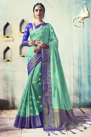 Bewitching Sea Green Nylon Silk Jacquard Zari Woven Saree with Blouse