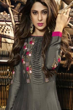 Jennifer Winget Grey Satin Sil & velvet Resham Embroidery and Zari with Handwork Border and Tassels Salwar Kameez