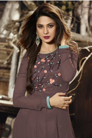 Jennifer Winget Chocolate Georgette & Silk Resham Embroidery and Zari with Handwork Border and Tassels & Applique Flowers with Beads Salwar Kameez