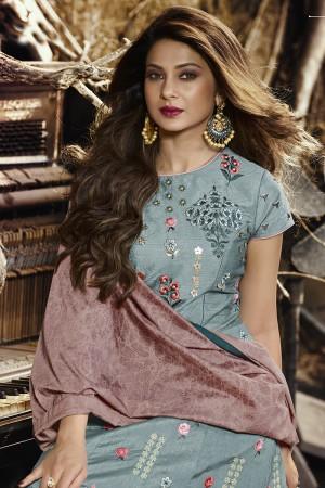 Jennifer Winget Light Denim Slub Silk Resham and Zari Embroidery Salwar Kameez