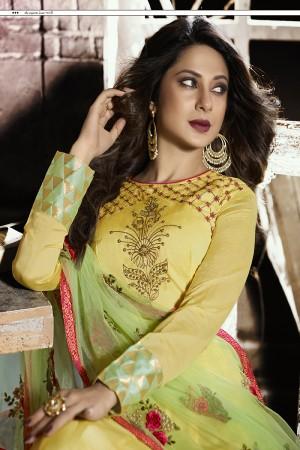 Jennifer Winget Yellow Pure Chanderi Silk&Jacquard Resham and Zari Embroidery with Beads and Diamond Salwar Kameez