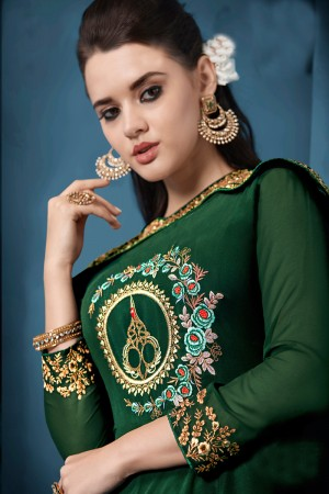 Trendy Dark Green Tafetta Silk Heavy Embroidery on Neck and Sleeve  Top Full Stitch with Size XL and Extra Margin Salwar Kameez