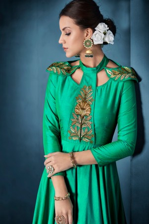 Versatile Rama Green Tafetta Silk Heavy Embroidery on Neck and Sleeve  Top Full Stitch with Size XL and Extra Margin Salwar Kameez