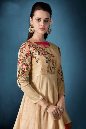 Delightful Golden & Pink Tafetta Silk Heavy Embroidery on Neck and Sleeve  Top Full Stitch with Size XL and Extra Margin Salwar Kameez
