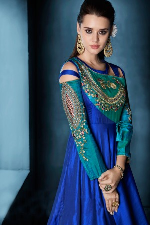 Dazzling Sky Blue Tafetta Silk Heavy Embroidery on Neck and Sleeve  Top Full Stitch with Size XL and Extra Margin Salwar Kameez