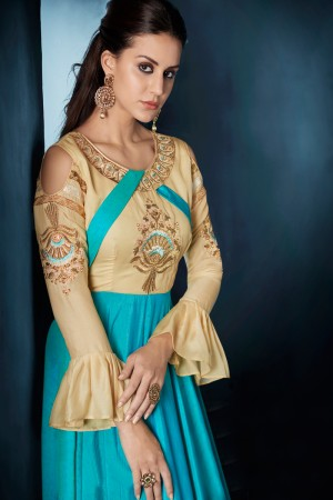 Exuberant Cream & Rama Tafetta Silk Heavy Embroidery on Neck and Sleeve  Top Full Stitch with Size XL and Extra MarginSalwar Kameez