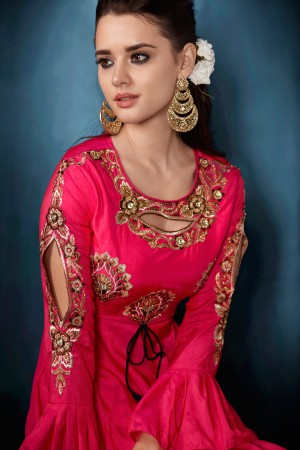 Awesome Pink Tafetta Silk Heavy Embroidery on Neck and Sleeve  Top Full Stitch with Size XL and Extra MarginSalwar Kameez