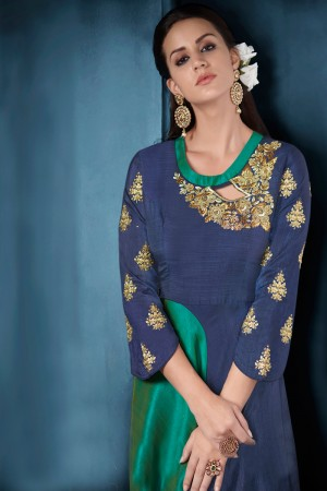 Eye catching Navy Blue Tafetta Silk Heavy Embroidery on Neck and Sleeve  Top Full Stitch with Size XL and Extra Margin Salwar Kameez