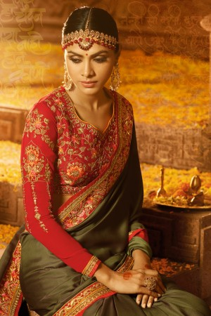 Mesmerising Mehendi  Silk Heavy Embroidery Badala Zari and Sequance Work with Multi Color Resham Work Saree with Blouse