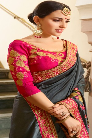 Stunning Grey Silk Heavy Embroidery Zari, Thread and Coding Work with Embroidery Blouse  Saree with Blouse