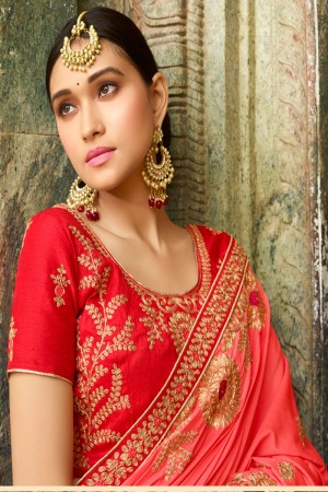 Angellic Peach Silk Heavy Embroidery Zari, Thread and Coding Work with Embroidery Blouse  Saree with Blouse