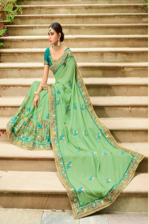 Ethnic Light Green Silk Heavy Embroidery Zari, Thread and Coding Work with Embroidery Blouse  Saree with Blouse