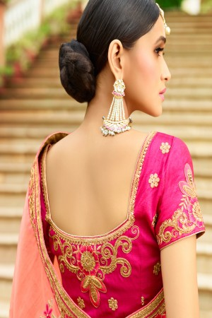 Distinctive Peach Silk Heavy Embroidery Zari, Thread and Coding Work with Embroidery Blouse  Saree with Blouse