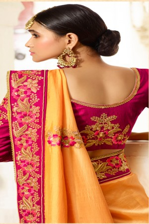 Engrossing Yellow Silk Heavy Embroidery Zari, Thread and Coding Work with Embroidery Blouse  Saree with Blouse