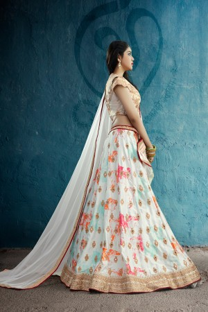 Amiable Off-White Crepe Printed & Jari Embroidery With Stone Work Lehenga Choli