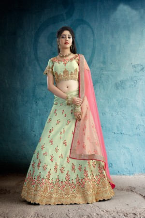 Adorable Pastel Green Art Silk Jari & Resham Embroidery With Stone Work Lehenga Choli