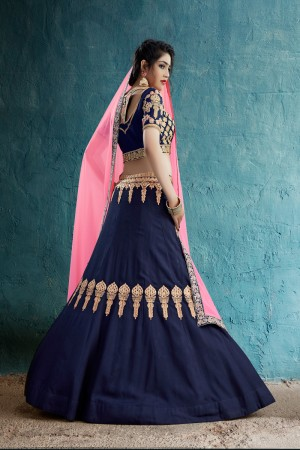 Dashing Navy Blue Rayon Silk Jari & Resham Embroidery With Stone Work Lehenga Choli