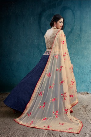 Delightful Navy Blue Weaved Silk Jari & Thread Embroidery With Stone Work Lehenga Choli