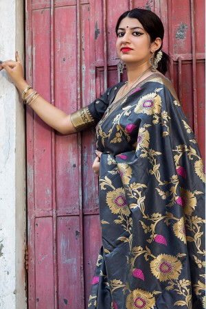 Dashing Grey Banarasi Silk Weaving Patola Silk Saree with Blouse