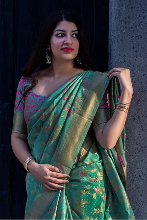 Trendy Cyan green Banarasi Silk Weaving Patola Silk Saree with Blouse