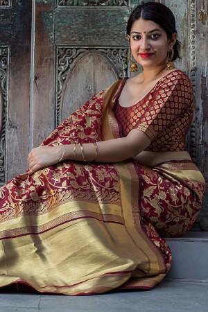 Maroon Banarasi Silk Patola Saree