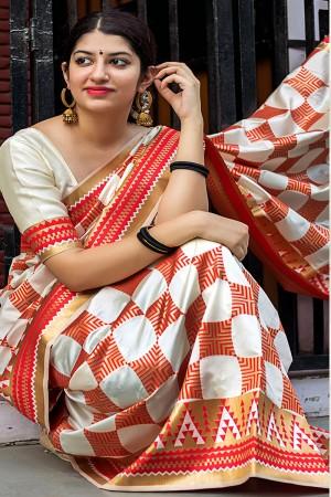 Dazzling Off white Banarasi Silk Weaving Patola Silk Saree with Blouse