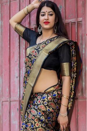 Exuberant Black Banarasi Silk Weaving Patola Silk Saree with Blouse