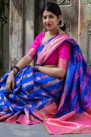 Blue Banarasi Silk Patola Saree