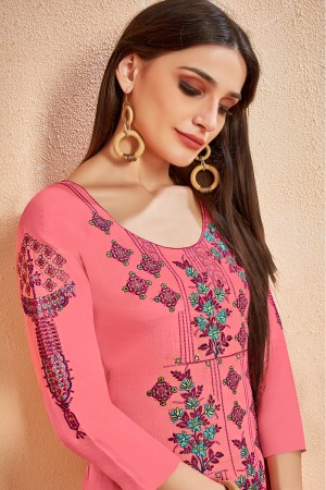Enthralling Pink Glace Cotton Heavy Embroidery on Neck and Sleeve with Digital Print Dupatta Dress Material