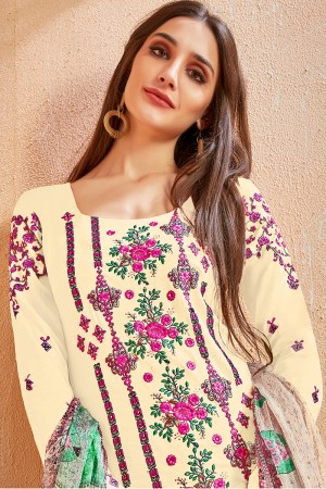 Captivating Cream Glace Cotton Heavy Embroidery on Neck and Sleeve with Digital Print Dupatta Dress Material