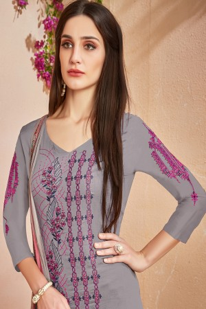 Stunning Grey Glace Cotton Heavy Embroidery on Neck and Sleeve with Digital Print Dupatta Dress Material