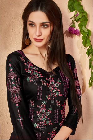 Glitzy Black Glace Cotton Heavy Embroidery on Neck and Sleeve with Digital Print Dupatta Dress Material