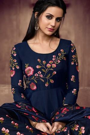 Blue Muslin Full Stitched Salwar Kameez