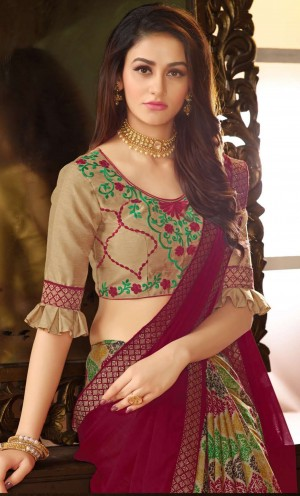 Maroon&Multi Color Georgette Saree with Blouse