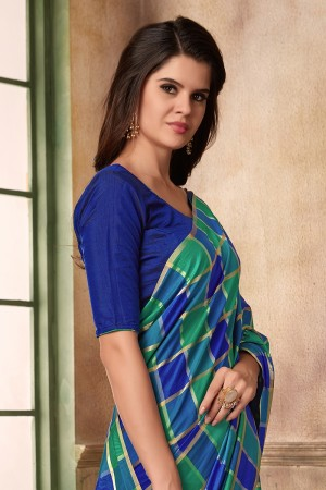 Blue & Green Two Tone Silk Saree with Blouse
