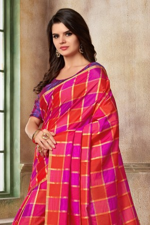 Magenta & Red Two Tone Silk Saree with Blouse