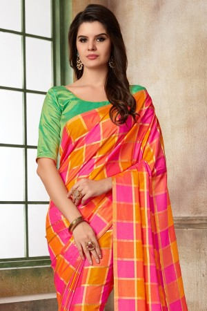 Orange & Pink Two Tone Silk Saree with Blouse