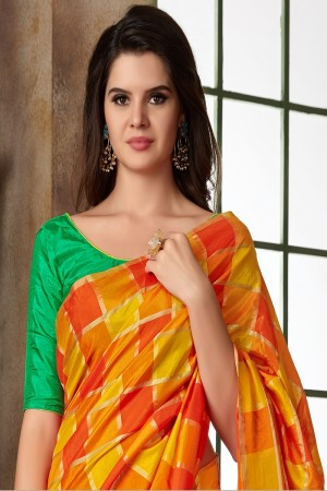 Yellow & Orange Two Tone Silk Saree with Blouse
