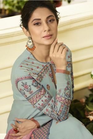 Jennifer Sky Blue Muslin Silk Salwar Kameez