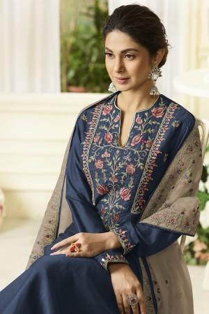 Jennifer Blue Muslin Silk Salwar Kameez