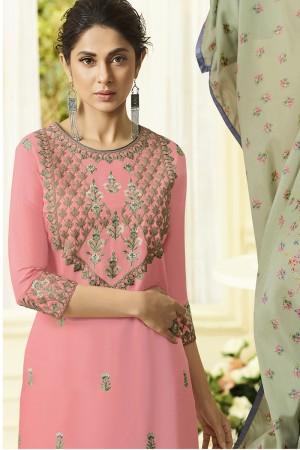 Jennifer Pink Muslin Silk Salwar Kameez