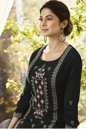 Jennifer Black Muslin Silk Salwar Kameez