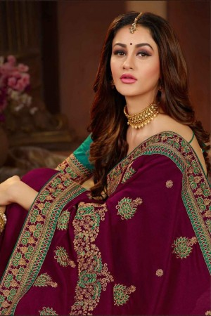 Maroon Silk Saree with Blouse