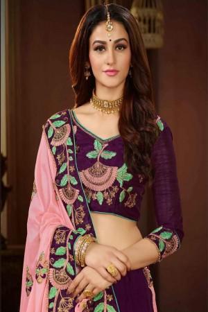 Pink & Wine Silk Saree with Blouse