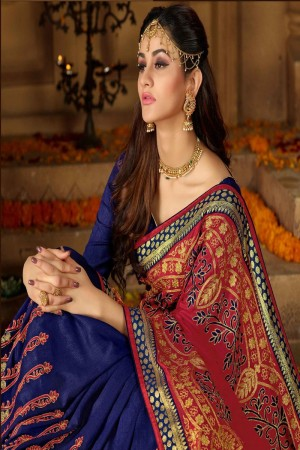 Red & Navy Blue Silk Saree with Blouse